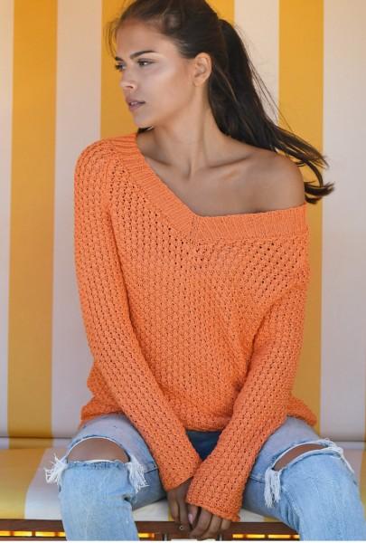 Pullover mit weitem V-Ausschnitt (54_47)