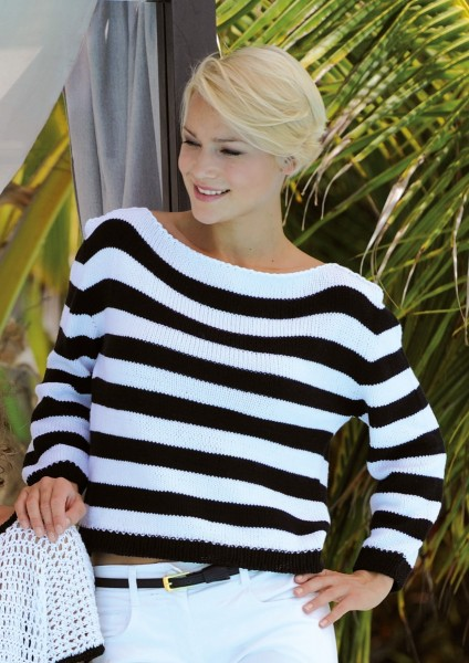 Strickanleitung schwarz/weiß gestreifter Pullover