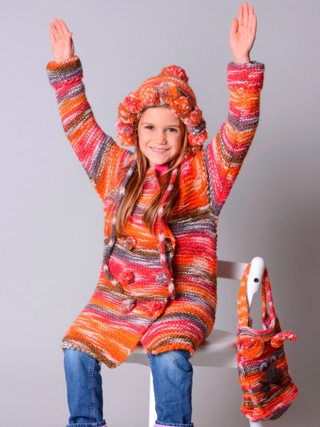 Strickanleitung Mantel, Mütze und Tasche